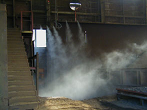 dust control with fog curtain