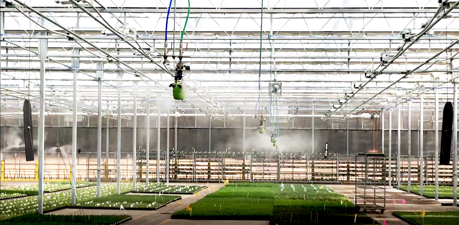 """humidity control in greenhouse: Walters Gardens greenhouse with AKIMist®""""E"""" Dry Fog humidifiers controlling the humidity level"""