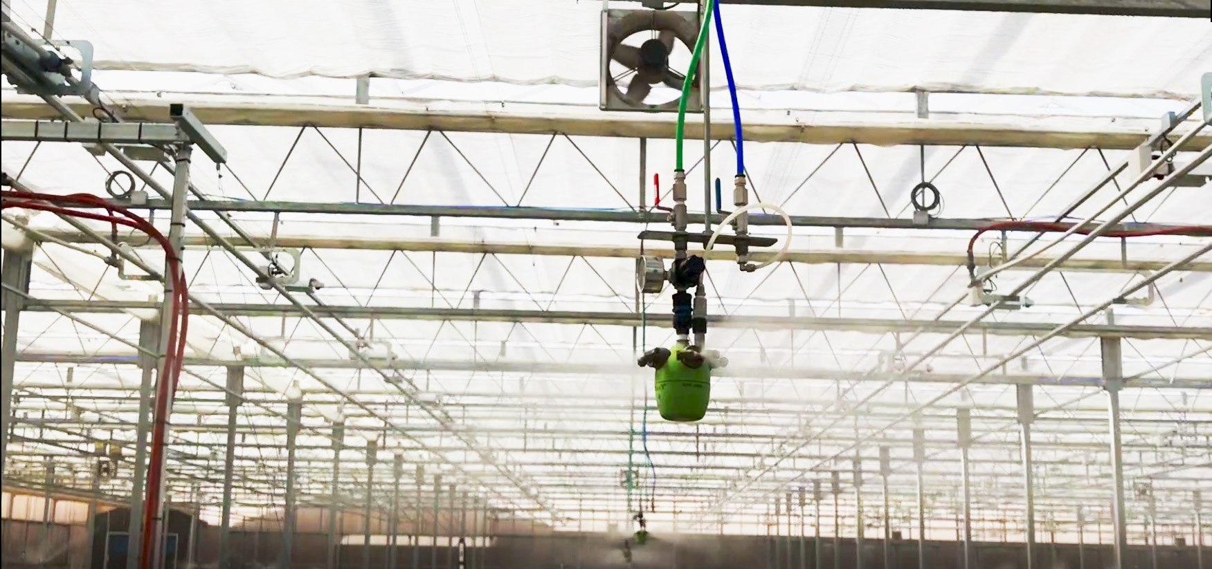 """humidity control in greenhouse with AKIMist®""""E"""" Dry Fog humidifier with 4 nozzles attached"""